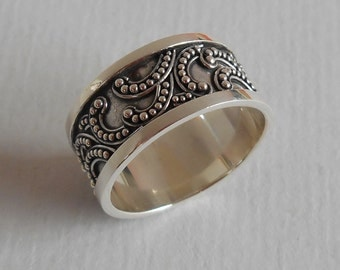 Balinese Sterling Silver granulation technique ring / silver 925 / Bali handmade jewelry / Size: 8.5 ready to ship