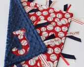 Taggie, blanket, custom, baby, boy, gift, ribbon, sensory, baseball, minky, lovey, gift, personalized, red, navy