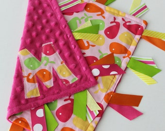 Taggie, blanket, ribbon, Personalized, minky, lovey, sensory, Pink Whales