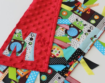 Taggie, blanket, personalized, baby, boy, robots, minky, ribbon, sensory, gift, lovey, tags, red