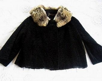 COAT Wrap Stole Jacket Shawl Black Short Persian Wool Curled Fur VINTAGE Formal VERY Soft Fur Collar