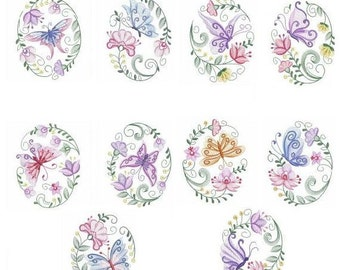 Embroidered  quilt blocks--Butterfly Ovals