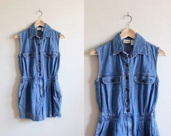 Vintage 1990s Blue Jean Sleeveless Denim Romper