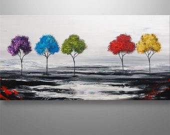 Abstract Painting, Trees Painting, Original Painting, Landscape Painting, Red Trees, Abstract Wall art, Wall Decor, home decor