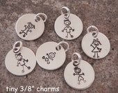 """Tiny stick figure people charm - Boy charm - Girl Charm - Cat, Dog charm - Baby charm - 3/8"""" Sterling silver charm - Photo NOT actual size"""