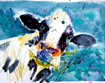Limited edition PRINT of original watercolour painting DAIRY COW Friesian, Holstein, original farm animal art illustration with certificate