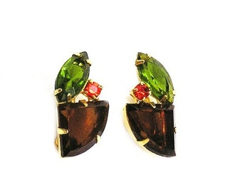 Amber Tangerine and Green Clip Earrings