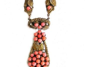Art Deco Coral Glass Cabochon Necklace Gilt Setting c.1920-30's