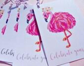 Pink Flamingo Gift Tags - Hot Pink Flamingo Tags - Bird Gift Tags - Flamingo Birthday Tags - Bridal Shower Gift Tags - pft1