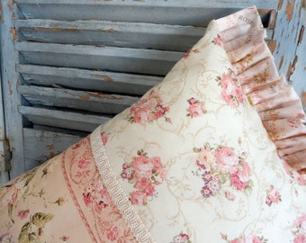 Pink and Roses everywhere on this Cottage Style Pillow!