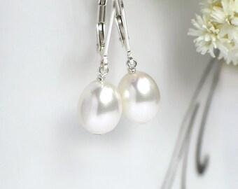 Drop Pearl Earrings   White Freshwater Pearls   Sterling Silver   14k Gold Fill   Rose Gold Fill Leverbacks Dangles   Simple Pearl Earrings