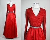 VICTORIA ROYAL Vintage 50s  1950s Red Silk Party Wedding Dress S