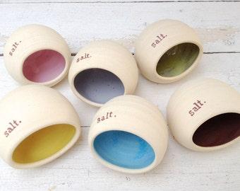 Salt Pig, Ceramic Salt Pig, Handmade, Salt Keeper, Salt Shaker, Salt Holder, Stamped Pottery, Custom Pottery, Spice Jar, Salt and Pepper