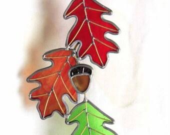 Stained Glass Triple Oak Sun catcher