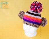 SALE - Purple Striped Monkey Beanie Hat - Ready to Ship