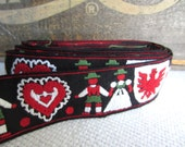 Vintage Swiss Folk Red White  Black Broc Woven Trim Folk Couple Heart Crest Wide Trim Tote Sash Accent Ribbon