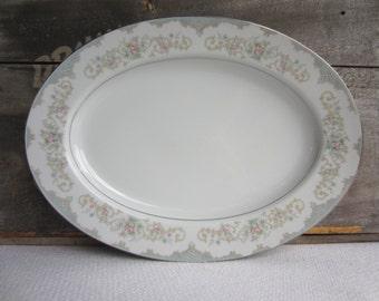 Vintage Tudor Rose Royal M Yamaka Japan Oval Serving Plate