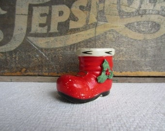 Vintage Christmas Small Santa Boot by Lefton Japan Air Plant Planter Small Sweet Gift