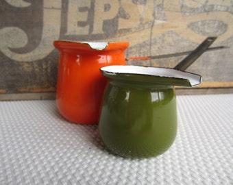 Vintage Avocado Green and Orange Enamel Turkish Coffee Pots