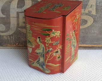 Vintage Red Hinged Oriental Tea Tin Geisha Pagoda