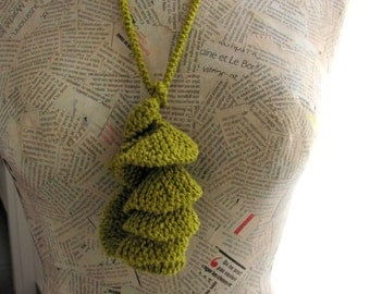 Textile jewelry--Unique Knitting necklace-Fiber jewelry--Curly necklace-Jewelry -Cotton- GREEN MINT --gift for her--Gift under 40 USD