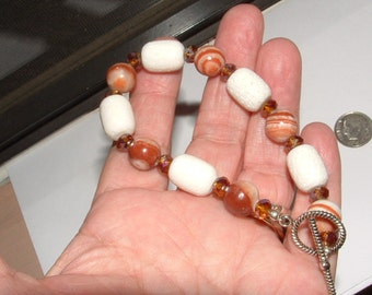 "reserve4tiki--bracelet-my own design-AGATE- WHITE CORAL-barrel  beads 8"" sz authentic real"