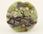 SRA Lampwork Glass Bead, Organic Artisan Etched Focal Lentil Green, Blue, Purple 'Spring Moss'