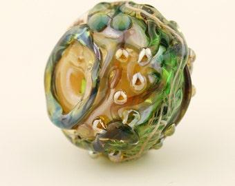 Hollow Lampwork Glass Bead Large Focal Jewel Tones Green Gold