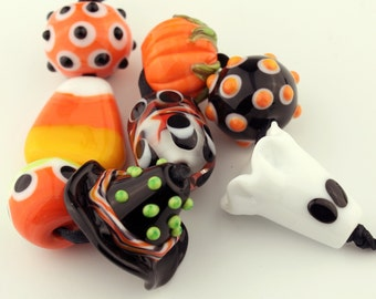 Halloween Lampwork Glass Beads, Orange Black Yellow White Ghost Pumpkin Candy Corn Glass Bead Set SRA