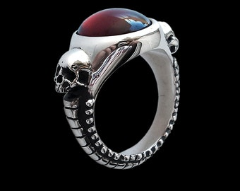 925 Solid Sterling Silver Engagement Skulls Ring Eternal Lovers with Red Garnet - Inspired by HR Giger artwork -  ALL SIZES