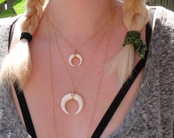 Free Shipping  Double Crescent Boho Bohemian Hippie Style Layering  Beach White Hand Carved Buffalo Horn Gold Plate Chain Stacking
