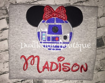 Star Wars girls R2D2 with bow shirt