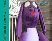Bunny Rag Doll Plush Rabbit Toy Sewing Pattern and Tutorial Beginner Pattern Easy