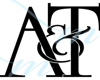 Intertwining Ampersand Monogram - A&T (instant download - JPG, PSD, PDF)