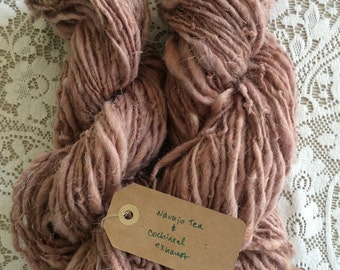 Yarn, Handspun, New Mexican Navajo Churro Wool, Plant Dyed, Double Ply, Worsted Weight, []'Navajo Tea & Cochineal