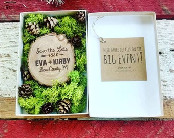 25 Save The Date Wood Magnets in Moss and Pine Cone Box