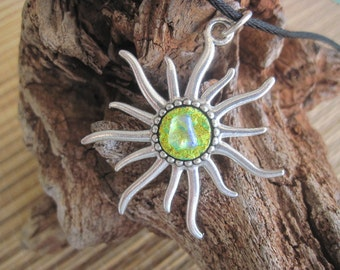 Fused Dichroic Glass Sun Pendant