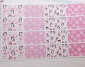 Winter Half Boxes Planner Stickers Penguins Snowflakes Pink PS159f Fits Erin Condren