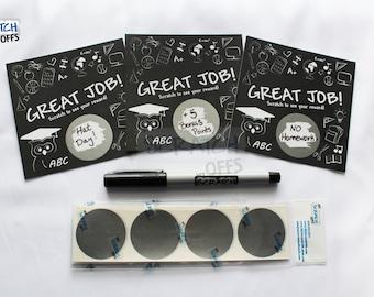 Teacher Reward Scratch Off Cards Do-It-Yourself Kit for DIY Classroom Rewards Student Incentive