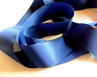 Vintage 1930's Swiss Woven Taffeta Satin Ribbon 1 9/16 Inch Gorgeous Navy Blue