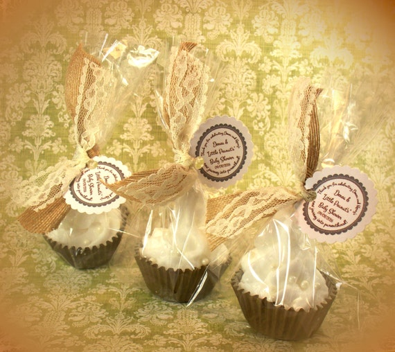 Burlap and Lace Wedding Favors Mini Cupcake Bath Bombs Party Favors (Set of 40)
