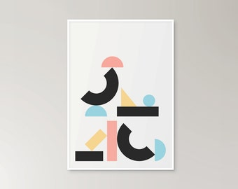 Download and print at home! Geometric colourful shapes pastel graphic print poster building blocks