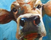 Cow Painting - Elise  - CANVAS Giclee Print of an Original Painting by Cari Humphry 18x18