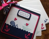 Nautical advice book, baby shower advice book, mommy to be advice book, brag book, whale nautical journal