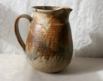Vintage Art Pottery Stoneware Vase Pitcher Signed SALE