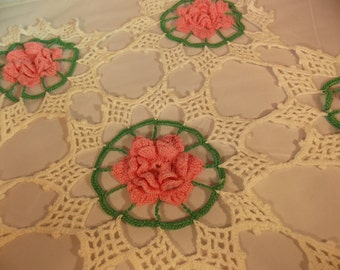 Vintage Rose Doily, Beautiful Hand Crocheted  Lace Table Doily, Delicate Tiny Stitches, Vintage Antique Table Dressing, Display