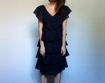 80s Dress Black Dress Vintage Tiered Dress Ruffle Dress Black Party Dress 1980s - Small Medium S M