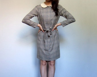 70s Plaid Dress Vintage Fall Peter Pan Collar Long Sleeve Shift Dress Winter Retro Preppy Dress - Small S