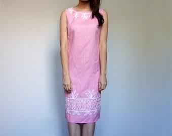 Pink Shift Dress Sleeveless Vintage Simple 60s Feminine Sundress Summer Office Dress - Large L