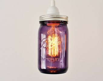 Purple Mason Jar Pendant Light, Hanging Lamp, BootsNGus Lighting Fixtures and Home Decor